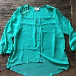 Pins & Needles | Turquoise Button Up Blouse